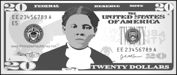 20 Dollars Tubman Colorable