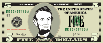 graphic about Printable Realistic Money titled Printable $5 Perform Cash