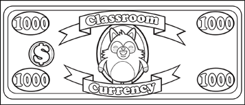 Classroom Currency $1000 to color