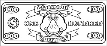 Classroom Currency $100 to color