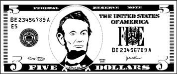Printable Paper Five Dollar Bill To Color