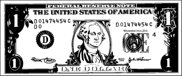 Printable Paper Dollar Bill to Color
