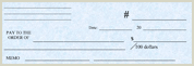 Blue Colored Play Money Checks